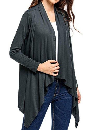 Soteer Women's Drape Open Front Long Sleeves One Button Flare Hem Fleece Wrap Knit Cardigan