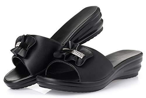 Mules Femme Enfiler Fermeture Confortable Moyen Noir à Talon Easemax FOPqnwCx