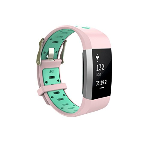 Price comparison product image For Fitbit charge 2 ,  Tiean Replacement Watch Wrist Band Silicon Strap Clasp (Pink)