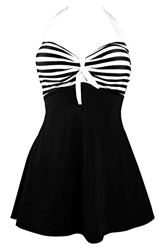 Quicksilk Women's One piece Plus Size Swimdress Cover Up Swimsuit Tankini (1X / 14W-16W, Black) (Plus Size Suits)