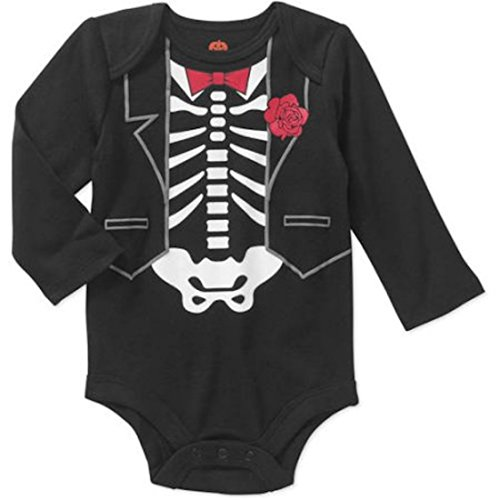 [Assorted Witch, Pumpkin, Cat Boys & Girls Halloween Bodysuit Dress Up Outfit (6-9 Months, Skeleton - Tuxedo & Red Bow] (Halloween Outfits Ladies)