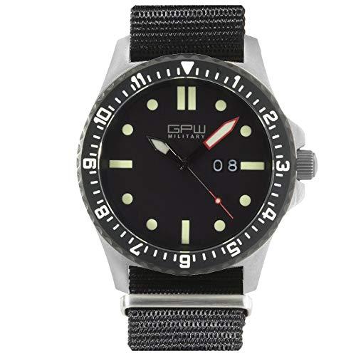 German Military Titanium Watch. GPW Big Date. 200M W/R. Sapphire Crystal. Black Nylon Strap.