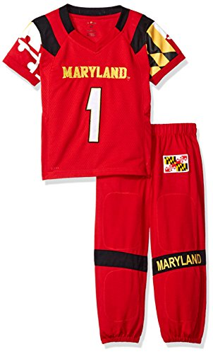 (FAST ASLEEP NCAA Maryland Terrapins Boys Toddler/Junior Football Uniform Pajamas, Size 7T, Red)
