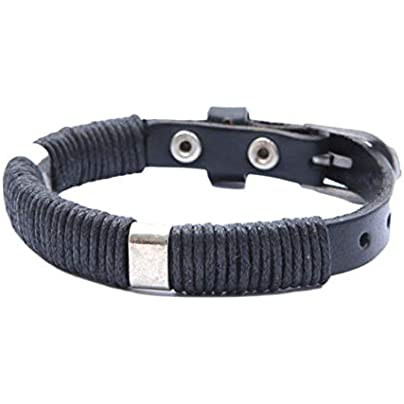 Asdf Men Bracelet Knitted Leather Wristband Cuff Bracelet Hand-Woven Leather Bracelet Estimated Price £21.11 -