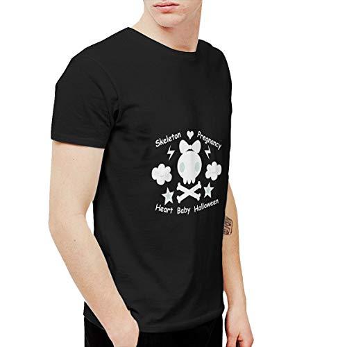 (T-shirt Skeleton Pregnancy Heart Baby Halloween Men's Round Neck Short Sleeve Tees Tops Black)
