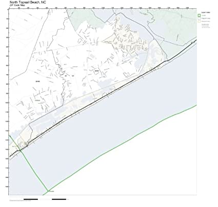 Amazon.com: ZIP Code Wall Map of North Topsail Beach, NC ZIP ... on showing map of oak island nc, beaach topsail nc, map of north topsail island nc,