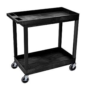 "Luxor 32"" x 18"" Tub Storage Cart 2 Shelves - Black"