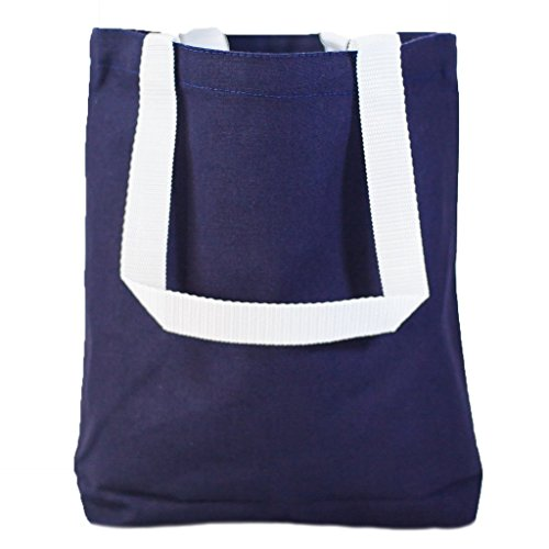 Multipurpose Cotton Canvas Tote Bags with White Handles (Small, Medium, Large ) (Medium, Navy) (Tote Bags Promotional Canvas)