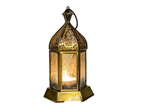 Klass Home Collection Moroccan French Style Aged Brass Patterned Glass Lantern Tealight Candle Holder, Metal Clear, Small (17x8cm) - Oriental Glass Candle Holder