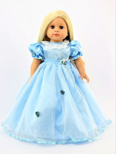 Baby Blue Dress with Flowers -Fits 18