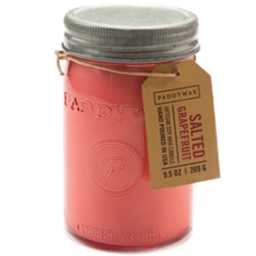 Pink Soy Candle (Paddywax Relish Collection Scented Soy Wax Jar Candle, 9.5-Ounce, Salted Grapefruit)