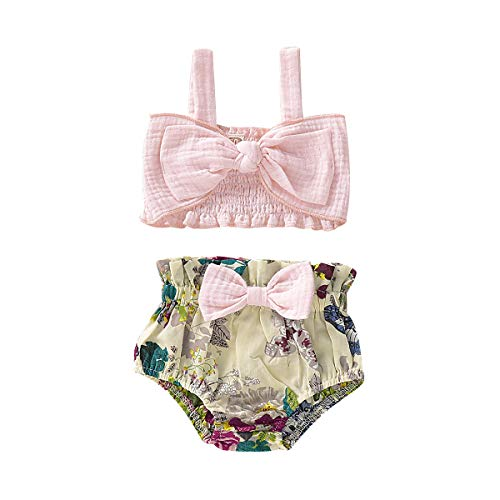 (2Pcs Newborn Cute Pink Bow Outfits, Baby Girl Strap Crop Top+Ruffle Shorts Bloomers Summer Clothes Set(18-24M))