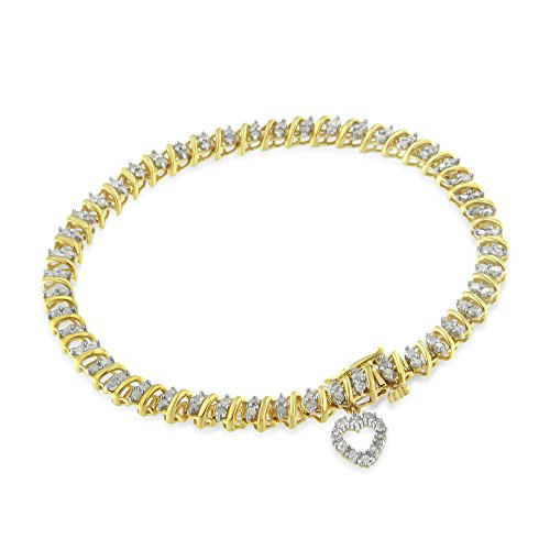 (Original Classics Yellow Gold-Plated Sterling Silver Diamond Heart Charm Link Bracelet (2 cttw, I-J Color, I3-Promo Clarity))