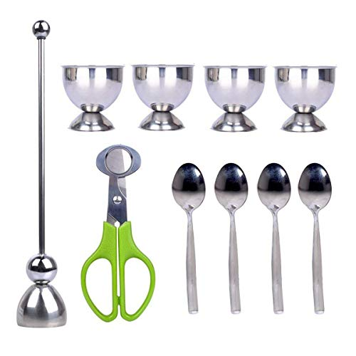 PROKITCHEN Egg Cup Holder Set with Egg Spoons and Quail Eggshell Cracker Cutter Topper for Removing Top of Soft Boiled Eggs ()