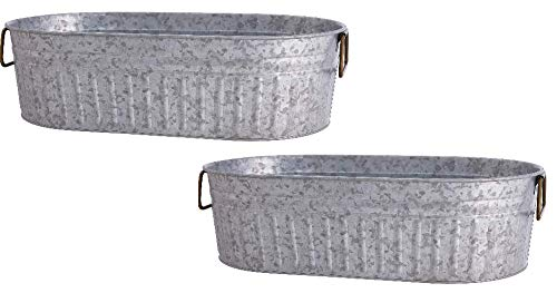Two Oval Galvanized Metal Beverage Tub Steel Bucket with Handles 20'' x 11'' x 5 3/4'' Beer Party Tub