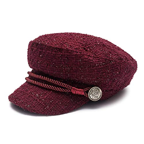 Women Newsboy Caps Cotton Burgundy Flat Caps Female Casual Captain Hats Ladies Designer Autumn Baker Boy Caps