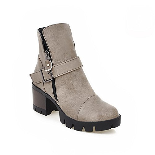 1TO9 Womens Boots Closed-Toe Zip Ankle-Wrap Kitten-Heel Warm Lining Rubber Waterproof Track Manmade Smooth Leather Urethane Boots MNS02583 Gray pu5ImnG