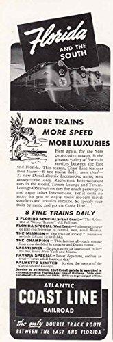 1941 Atlantic Coast Line Railroad: Florida and the Sou, Atlantic Coast Line Railroad Print Ad (Railroad Sou)
