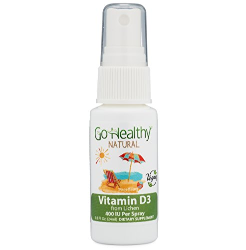 Go Healthy Natural Vitamin D3 Liquid Spray, Vegan (Plant-Based) from Organic Lichen for Women, Men and Children 400-2,000 IU Per Serving (1-2 Month Supply) Non-GMO, Vegetarian