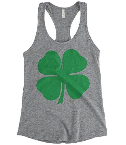 Cybertela Women's Green Four Leaf Clover ST Patrick's Day Racerback Tank Top (Light Gray, Large) (Shamrock Tank Top)