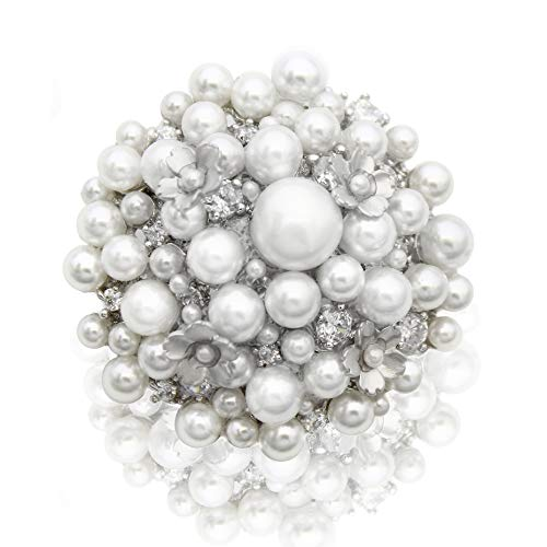 Elegant and Beautiful Pearl Silver Flower Crystal Fashion Jewelry Brooch Pin for Wedding Bridel