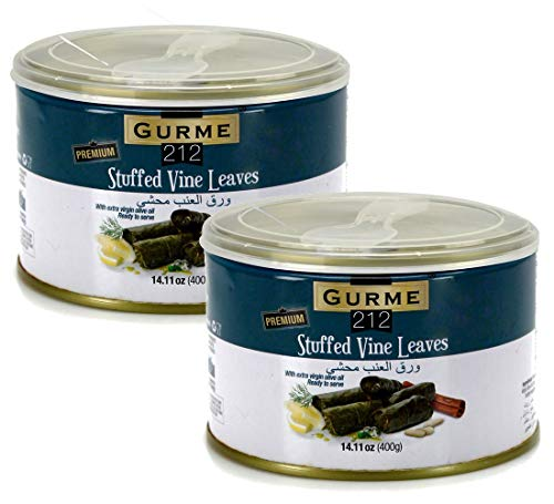 (Gurme212 Premium 14 oz Stuffed Vine Leaves (Dolmades) with Easylid and Fork (2-pack))