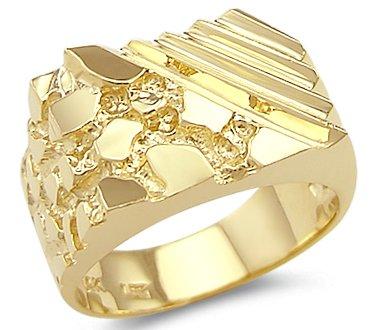 Size- 7 - New Solid 14k Yellow Gold Unique Large (Large Nugget)