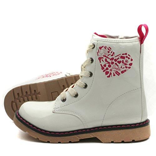 Botas Biker Lateral Kids Ba122 blanco Chicas In Las Para Con gt; gt; En Patent side Zip Mid Estilo W For Patente Cremallera White Biker worker Calf Boots Girls Barbie qawfx5ESq
