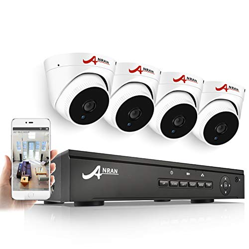 ANRAN IP PoE Security Camera System 8 Channel NVR 1080P 1TB Hard Drive with 4 Outdoor Indoor Surveillance Dome Cameras Night Vision QR Code Easy Setup Free Remote View Email Alerts SWINWAY