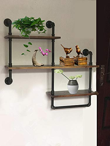 Wendy JINGQI Industrial Pipe Shelf for Home Organizer Storage, 4 Tiers Rustic Urban Style Metal Wall Mounted Ledge Bookcase Shelf Rustic Modern Wood Ladder Pipe Wall Shelf - Material: steel pipe and Wood planks Use:Applies to office, bedroom, kitchen, living room, bar, cafe and so,add extra space Suitable for both indoor and outdoor applications - wall-shelves, living-room-furniture, living-room - 41adrXuKJrL -