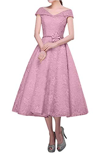 Charmant Damen Alt Tanzenkleider Abendkleider Champagner Rosa Spitze Promkleider Wadenlang Partykleider ddvHrqBAZ
