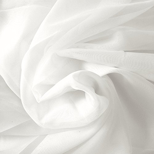 "Sheer Voile Fabric 118"" Wide Window Curtain Drapery and Apparel per Yard 100% Polyester (1 Yard, White)"
