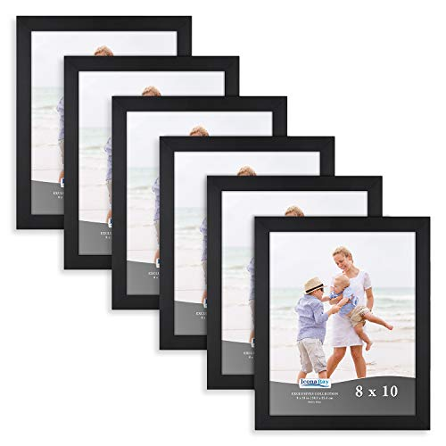Six Frame Display - Icona Bay 8x10 Picture Frame (6 Pack, Black), Black Sturdy Wood Composite Photo Frame 8 x 10, Wall or Table Mount, Set of 6 Exclusives Collection