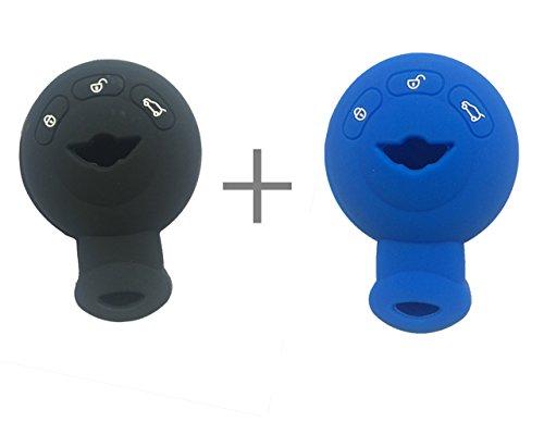 2Pcs New Black Blue Protect Silicone Smart Remote Key Cover Fob Case Holder For Mini Cooper S R56 R57 R58](Mini Cooper S Key Case)
