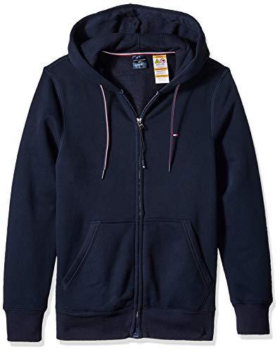 (Tommy Hilfiger Men's Adaptive Hoodie Sweatshirt with Magnetic Zipper, Navy Blazer, Medium)