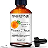 MAJESTIC PURE Vitamin C Serum for Face - Topical Antioxidant Facial Serum with L - ascorbic Acid - Promotes Natural Skin Care and Anti Aging - Fights Acne, Age Spots and HyperPigmentation - 1 fl. oz.