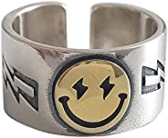 MELLIFO Smiley Face Ring Wide Chunky Adjustable Vintage Silver Smiling Open Ring for Women Men