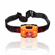 Odoland® 3W Waterproof Headlamp LED for Camping, Running, Hiking, Reading, Fishing , Climbing, Jogging, With 4 Light Modes, Red Light Alarm Mode, 3 AAA Batteries Included (Yellow)