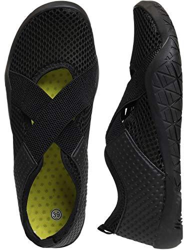 WHITIN Women's Mary Jane Water Shoes for Aqua Hiking Trail Running Sport Minimalist Barefoot Wave Walking Beach Swim Surf Outdoor Kayaking Athletic Female Ladies All Black Size 8