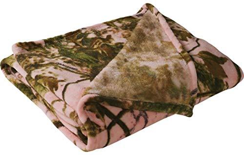 Camouflage Throw Blanket Warm Coral Fleece - Green 50x60 Inch (Pink)