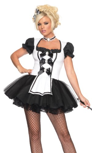 Leg Avenue Women's Mistress Maid Costume, Black/White, Small/Medium -