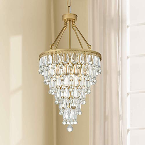 Modern Clear Crystal Raindrop Round Gold Chandelier Flush Mount LED Ceiling Light Fixture Pendant Lighting Lamp for Dining Room Bathroom Bedroom Livingroom 4 E12 Bulbs Required H33 in X D16in