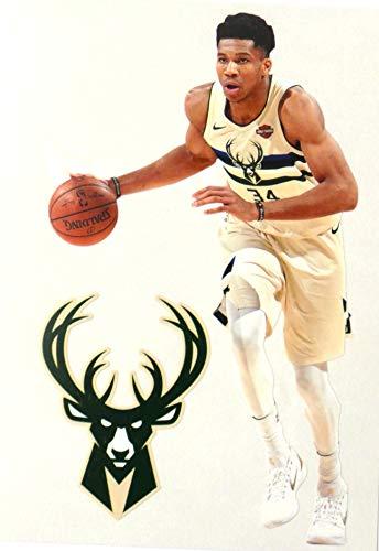 FATHEAD Giannis Antetiokounmpo Mini Graphic + Milwaukee Bucks Logo Official NBA Vinyl Wall Graphics - This Graphic 7