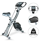 TECHMOO Folding Magnetic X Exercise Bike Portable Upright Recumbent 2 in 1 Stationary Bike Slim Indoor Workout Fitness Cardio Exercise Bicycle Machine with Arm Resistance Bands and Heart Monitor