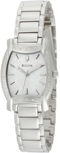 Bulova Women's 96R135 Diamond Case White Dial Bracelet Watch (Tonneau White Bracelet)