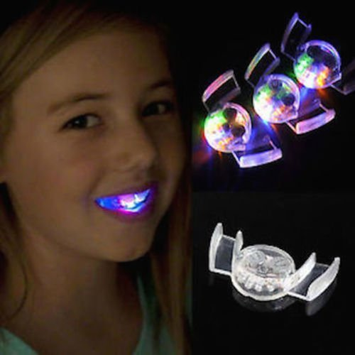 NPLE--Flashing LED Light Up Mouth Braces Piece Glow Teeth For Halloween Party Rave PV1