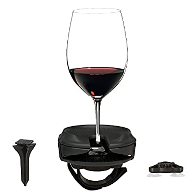 Outdoor Wine Glass Holder by Bella D'Vine – 3 Attachments include Lawn Wine Stake For Picnics, Suction Base For Boats and Hot Tubs, Strap For Patio Chairs – Fun Wine Gift – Graphite Grey