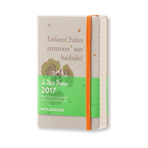Moleskine 2017 Le Petit Prince Limited Edition Daily Planner, 12M, Pocket, Light Grey, Hard Cover 3.5 X 5.5