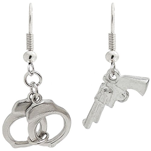 100% Nickel Free! Gun and Hand Cuff Earrings, Ours Alone! USA!, in Silver -