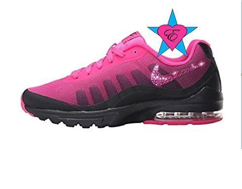 Custom Crystal Bedazzled Pink Black Women Nike Air Max Invigor Print by Eshays